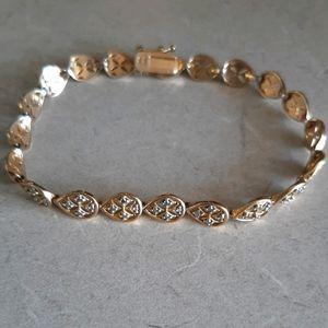 Gold Pated Diamond Tennis Bracelet